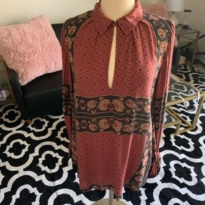 Free people long sleeve fall floral peasant tunic